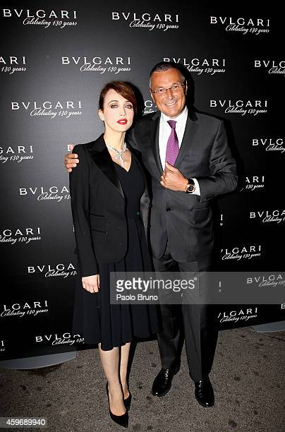 The actress Chiara Francini and Bulgari CEO Jean Cristophe Babin attend ' Bulgari unveils new Christmas Lighting' at Via Condotti Store on November...