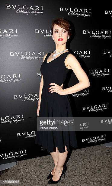 The actress Chiara Francini attends ' Bulgari unveils new Christmas Lighting' at Via Condotti Store on November 28 2014 in Rome Italy