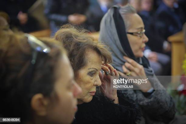 The actress Claudia Cardinale during a moment of the funeral director screenwriter and political Pasquale Squitieri at the Church of the Virgin in...