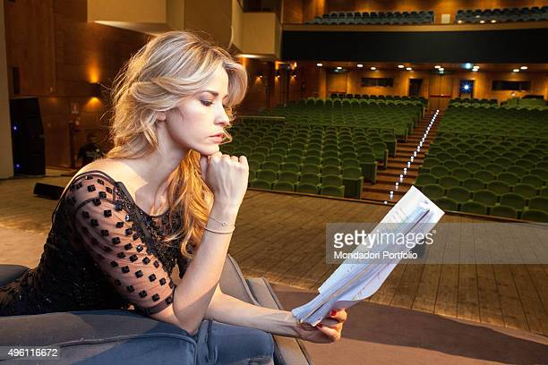 The actress Elena Santarelli posing for a photo shooting at Teatro Massimo during the rehearsals of the play Quando la moglie è in vacanza Italy...