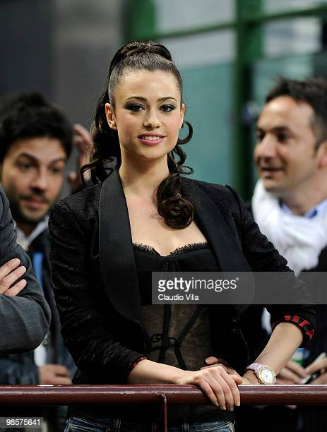 The actress Martina Stella during the UEFA Champions League Semi Final First Leg match between Inter Milan and Barcelona at Giuseppe Meazza Stadium...