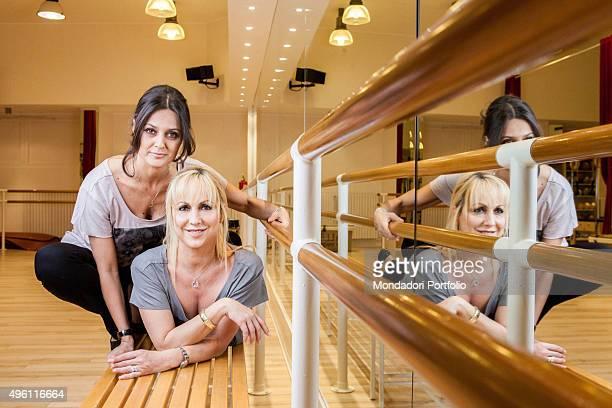 The actress Rosita Celentano and the dancer Alessandra Celentano posing in the gym Le Celentano in the shop Dimensione Danza in Corso Europa 2 Italy...