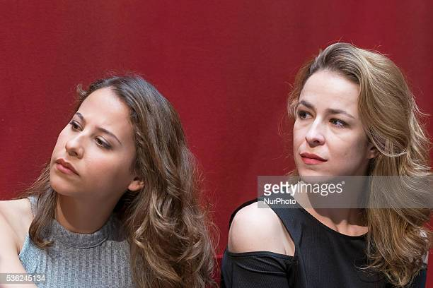 The actress Silvia Abascal and Irene Escolar attends the presentation of the theater play quotSoul and Bodyquot in the Spanish theater of Madrid...