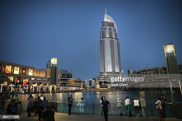 The Address Burj Dubai sits along the 30acre manmade Burj Khalifa Lake and next to the Dubai Mall on April 9 2014 in Dubai United Arab Emirates The...