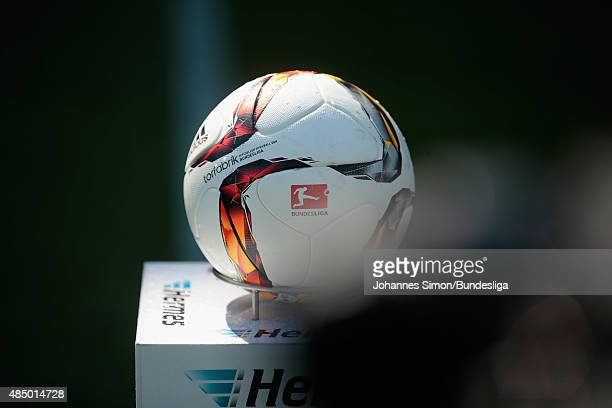 The Adidas Bundesliga match ball is displayed ahead of the Bundesliga match between FC Ingolstadt and Borussia Dortmund at Audi Sportpark on August...