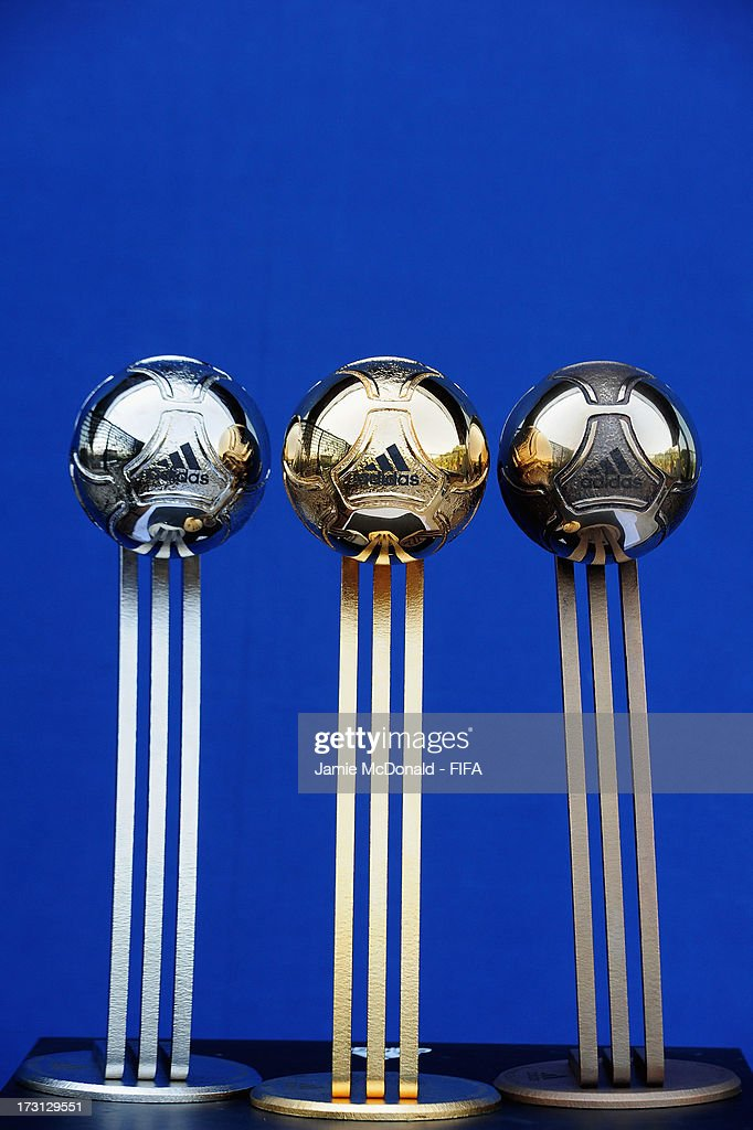 The Adidas Gold, Silver and Bronze Ball awards for the FIFA U20 World Cup are pictured at the Ritz Carlton on July 8, 2013 in Istanbul, Turkey.