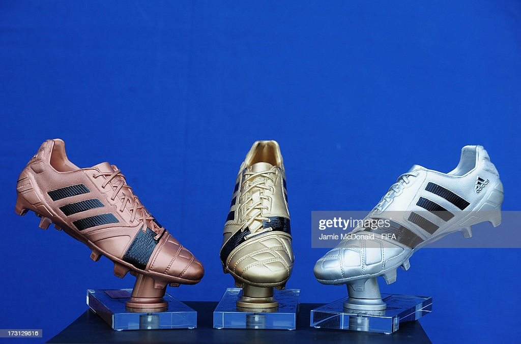 The Adidas Gold' Silver and Bronze Boot awards for the FIFA U20 World Cup are pictured at the Ritz Carlton on July 8, 2013 in Istanbul, Turkey.