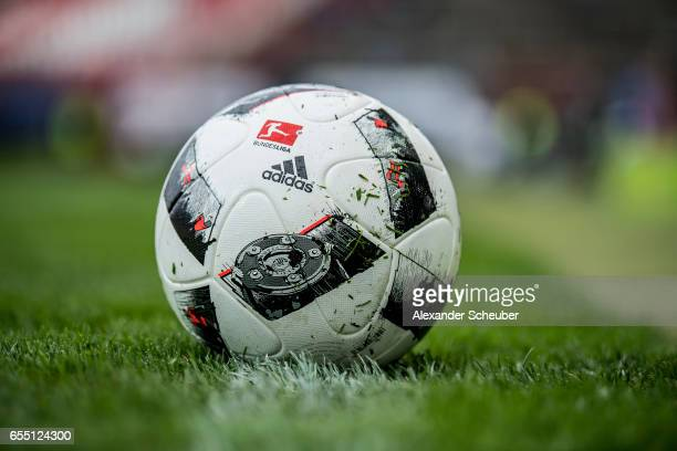 The adidas matchball is seen during the Second Bundesliga match between Karlsruher SC and Fortuna Duesseldorf at Wildparkstadion on March 19 2017 in...