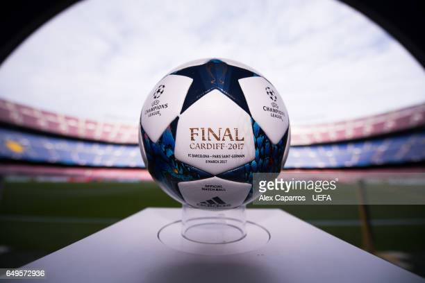 The Adidas official matchball is ready ahead of the UEFA Champions League Round of 16 second leg match between FC Barcelona and Paris SaintGermain at...