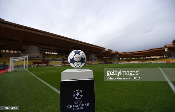 The Adidas official matchball is ready ahead the UEFA Champions League Quarter Final second leg match between AS Monaco and Borussia Dortmund at...