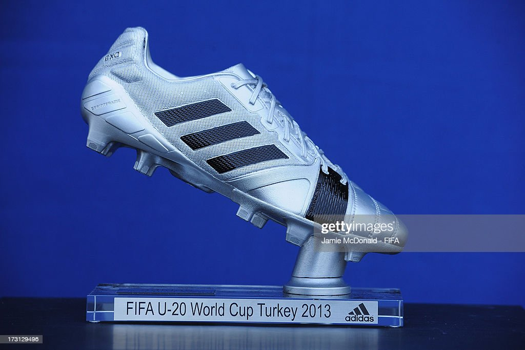 The Adidas Silver Boot award for the FIFA U20 World Cup is pictured at the Ritz Carlton on July 8, 2013 in Istanbul, Turkey.