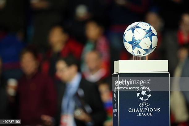 The Adidas UEFA Champions League ball during the UEFA Champions League match between Manchester United and Wolfsburg at Old Trafford on September 30...