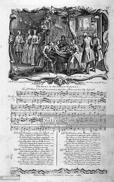 'The Adieu to the SpringGardens' 1737 A night view of Vauxhall Gardens in an ornamental border with a song sheet below A man gazes at a woman across...