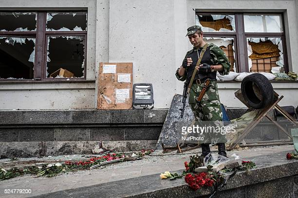 The administration building of Lugansk after the attack of Ukrainian Army Eight people were killed in the attack
