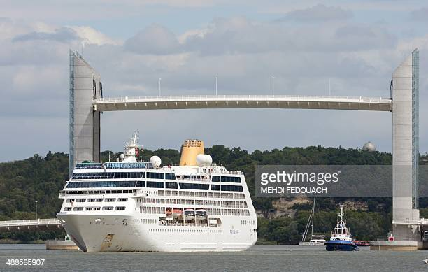The Adonia cruise ship cruises on the Garonne river to dock in Bordeaux on May 7 2014 The Adonia is 181 metres long and has a capacity of 710...