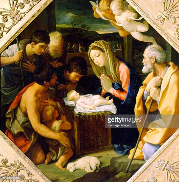 'The Adoration of the Christ Child' c1640 Found in the collection of the State A Pushkin Museum of Fine Arts Moscow