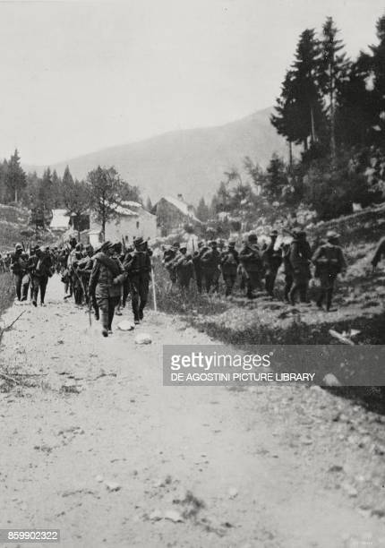 The advancement of the Italian infantry towards Cesuna during the Battle of the Plateaux Italy World War I from L'Illustrazione Italiana Year XLIII...