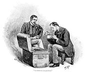 Dr Watson watching Sherlock Holmes going through the mememtoes of his old cases Illustration by Sidney E Page the first artist to draw Sherlock...