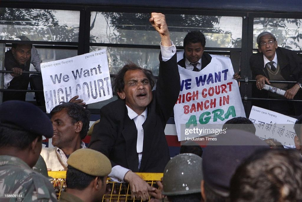 The advocates from Agra protesting to press their demand of establishment of high court bench in Agra, at Jantar Mantar on December 20, 2012 in New Delhi, India.