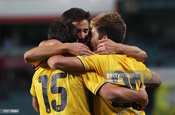 The AEK Athens player celebrate after a goal scored by Neithan Burns of Athens during the preseason friendly match between AEK Athens FC and Glasgow...