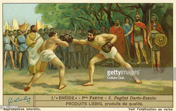 The Aenied epic poem by Virgil Boxing match held at the funeral games on the anniversary of Aeneas' father's death Liebig collectors' card 1930