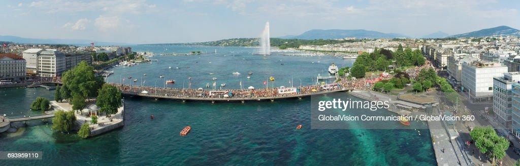 The Aerial Panorama of Geneva's Lake Parade : Stock Photo