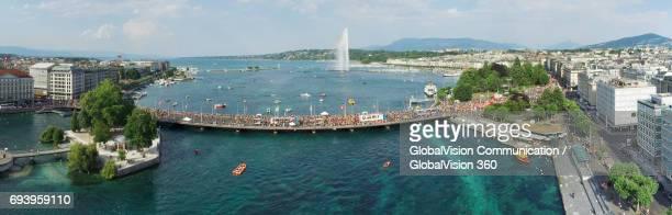 The Aerial Panorama of Geneva's Lake Parade