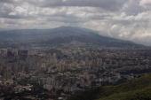The aerial tram to the city's highest vantage point Parque Nacional El Avila reveals a spectacular view of the skyline in this 2007 Caracas Venezuela...