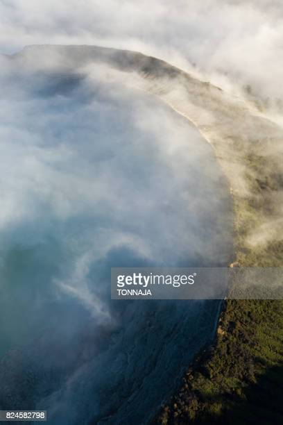 The aerial view of Kawah Ijen crater, East Jave, Indonesia