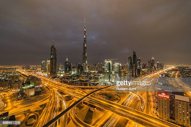 The aerial view of Sheikh Zayed Road at Sunset on January 29 2016 in Dubai United Arab Emirates