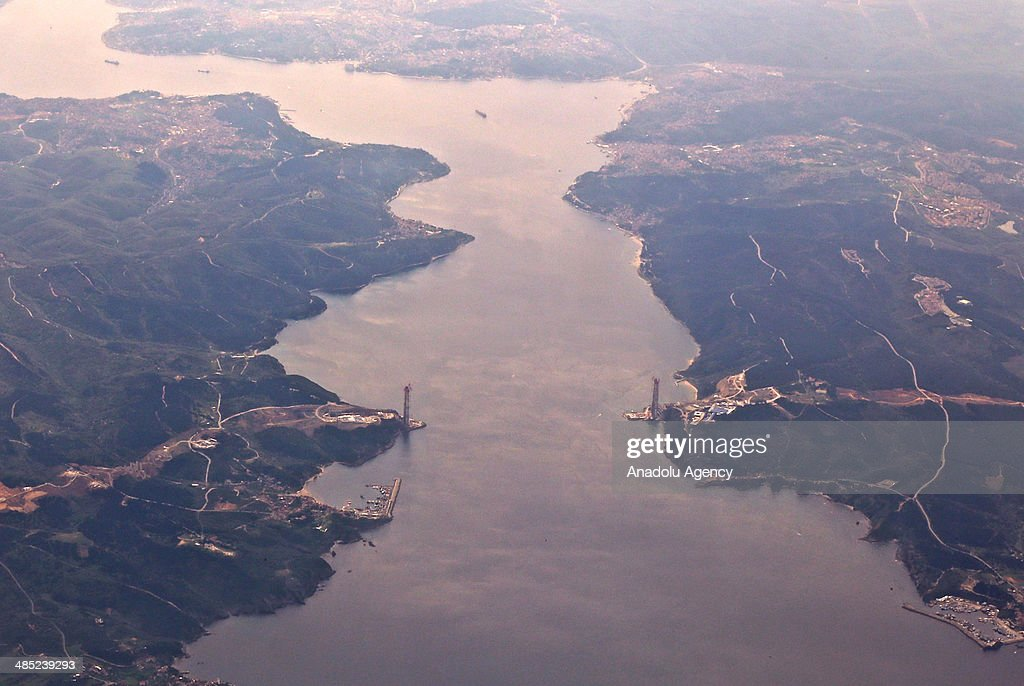 The aerial view of the construction site of 3th Bosphorus Bridge is seen in Istanbul, Turkey on April 16, 2014. The bridge will be 2,160 meters in length, 320 meters in height.