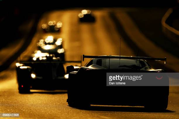 The AF Corse Ferrari 488 of Sam Bird Miguel Molina and Davide Rigon drives during qualifying for the Le Mans 24 Hour Race at Circuit de la Sarthe on...