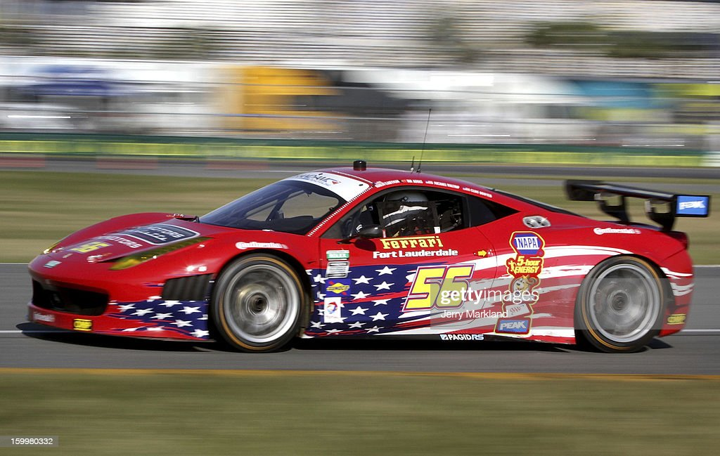 The AF - Waltrip Ferarri 458 driven by Robert Kauffman, Rui Aguas, <a gi-track='captionPersonalityLinkClicked' href=/galleries/search?phrase=Michael+Waltrip&family=editorial&specificpeople=204621 ng-click='$event.stopPropagation()'>Michael Waltrip</a> and <a gi-track='captionPersonalityLinkClicked' href=/galleries/search?phrase=Clint+Bowyer&family=editorial&specificpeople=537951 ng-click='$event.stopPropagation()'>Clint Bowyer</a> drives on track during practice at Daytona International Speedway on January 24, 2013 in Daytona Beach, Florida.