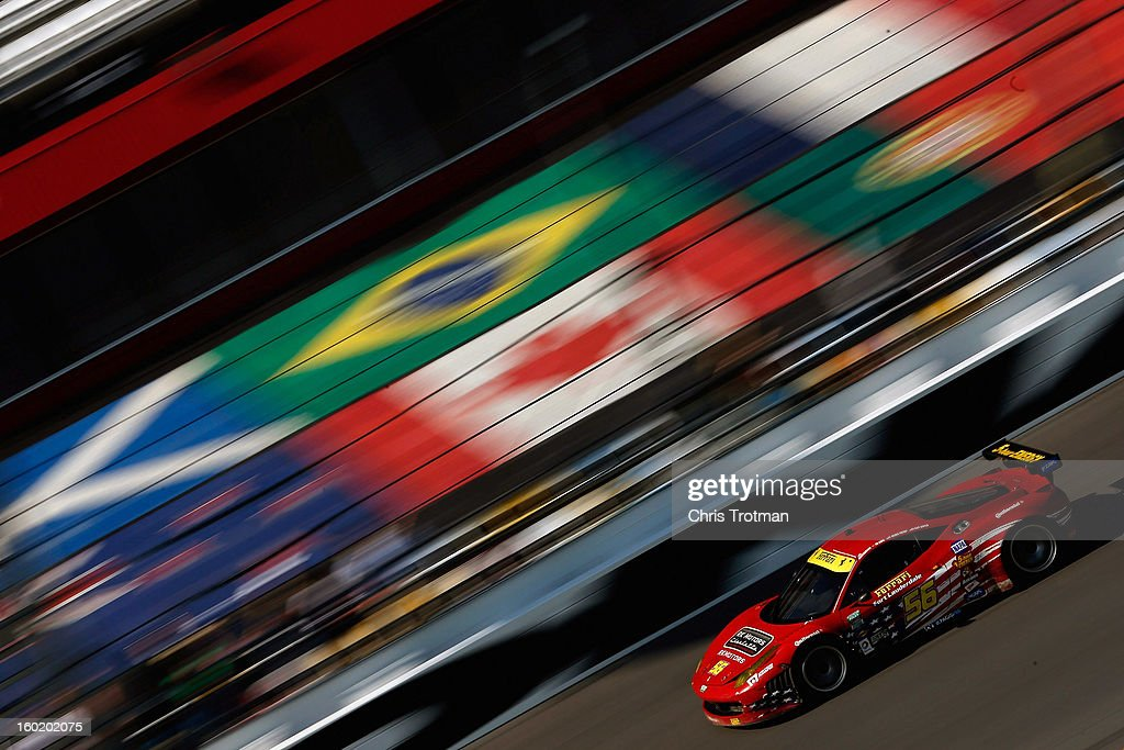 The #56 AF Waltrip Ferrari 458, driven by Robert Kauffman, Rui Aguas, <a gi-track='captionPersonalityLinkClicked' href=/galleries/search?phrase=Michael+Waltrip&family=editorial&specificpeople=204621 ng-click='$event.stopPropagation()'>Michael Waltrip</a> and <a gi-track='captionPersonalityLinkClicked' href=/galleries/search?phrase=Clint+Bowyer&family=editorial&specificpeople=537951 ng-click='$event.stopPropagation()'>Clint Bowyer</a> drives during the Rolex 24 at Daytona International Speedway on January 27, 2013 in Daytona Beach, Florida.