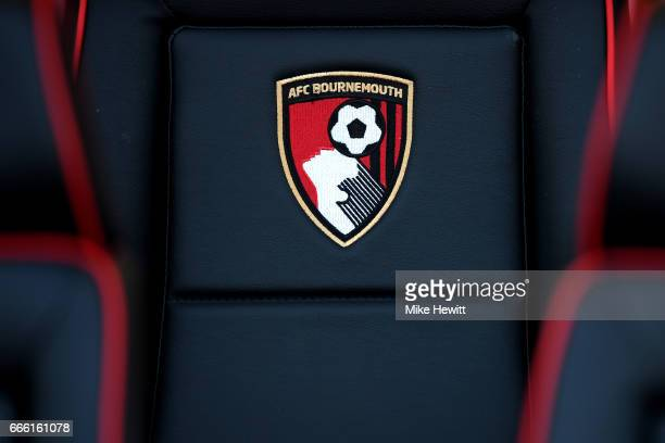 The AFC Bournemouth logo is seen on the dugout seats prior to the Premier League match between AFC Bournemouth and Chelsea at Vitality Stadium on...