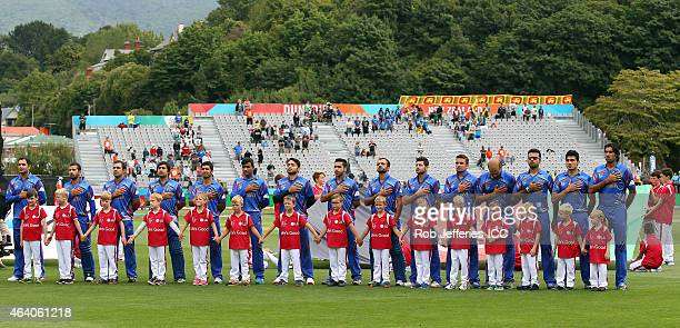 The Afghanistan cricket team stand for their National Anthem during the 2015 ICC Cricket World Cup match between Sri Lanka and Afghanistan at...