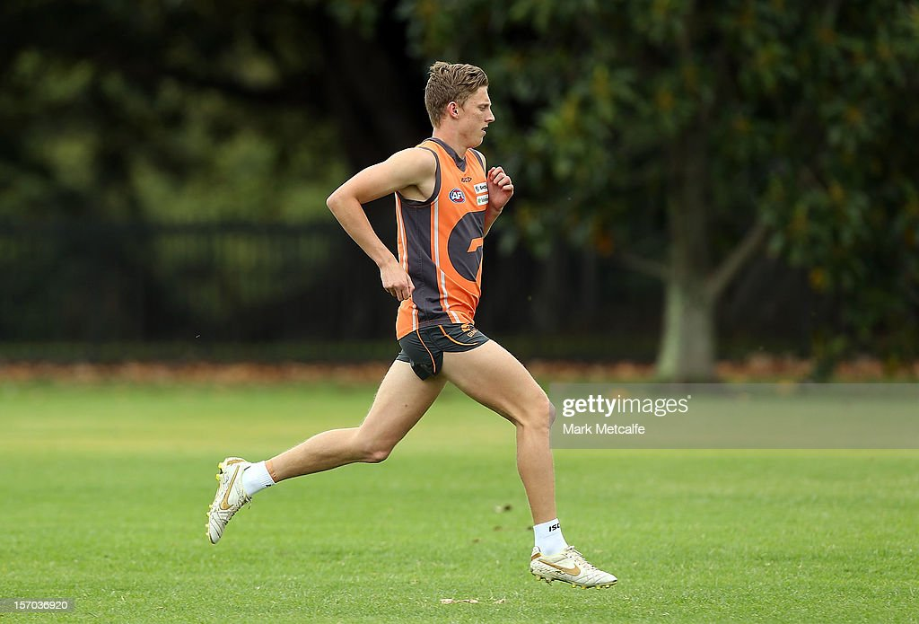 The AFL number one draft pick <a gi-track='captionPersonalityLinkClicked' href=/galleries/search?phrase=Lachie+Whitfield&family=editorial&specificpeople=7917185 ng-click='$event.stopPropagation()'>Lachie Whitfield</a> runs during a Greater Western Sydney Giants AFL pre-season training session at Lakeside Oval on November 28, 2012 in Sydney, Australia.