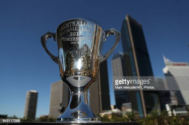 The AFL Premiership Cup is seen during the AFL Grand Final media announcement at The Museum of Contemporary Art Australia on September 6 2017 in...