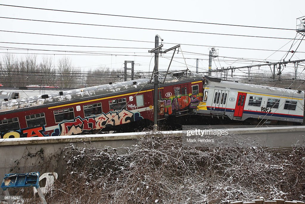The aftermath of a crash between two passenger trains, which collided head on, on February 15, 2010 in Halle, Belgium. Between 15 and 25 people died when the two passenger trains crashed into one another during rush hour.
