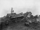 The aftermath of a freight train derailment at Wormwood Scrubs in west London February 1923