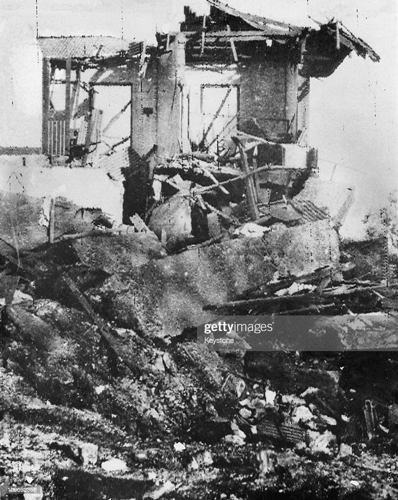 The aftermath of a Japanese air attack on Darwin Australia during World War II February 1942 The picture shows the ruins of a building in the main...