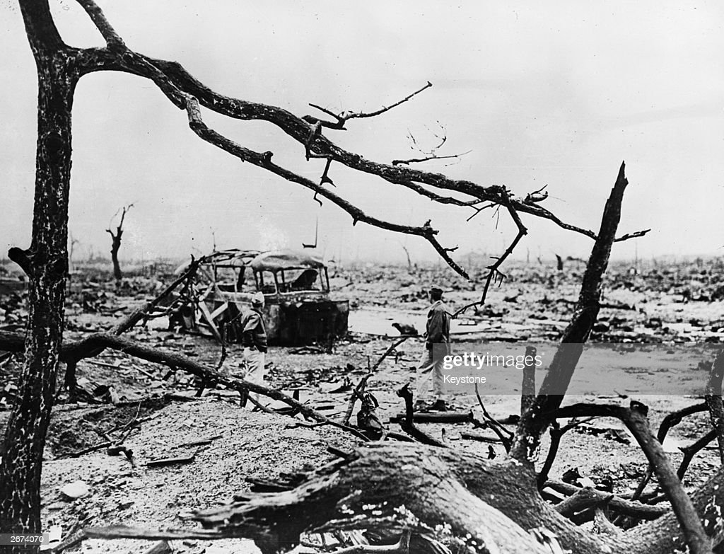 The aftermath of the atom bomb dropped on Hiroshima, Japan, by the Americans at the end of World War II. The occupants of the burned-out bus were all killed.