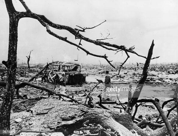 The aftermath of the atom bomb dropped on Hiroshima Japan by the Americans at the end of World War II The occupants of the burnedout bus were all...