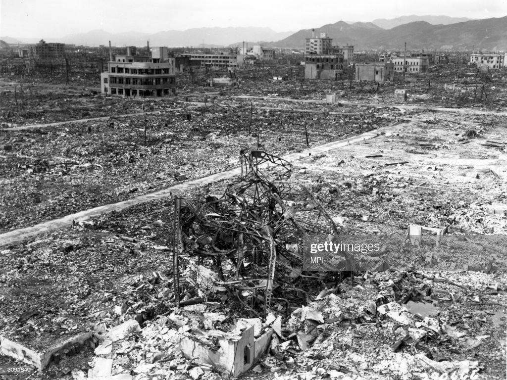 The aftermath of the bombing at Nagasaki