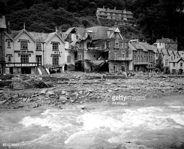 The aftermath of the devastating 'tidal wave' which swept through the Devon resorts of Lynmouth and Lynton