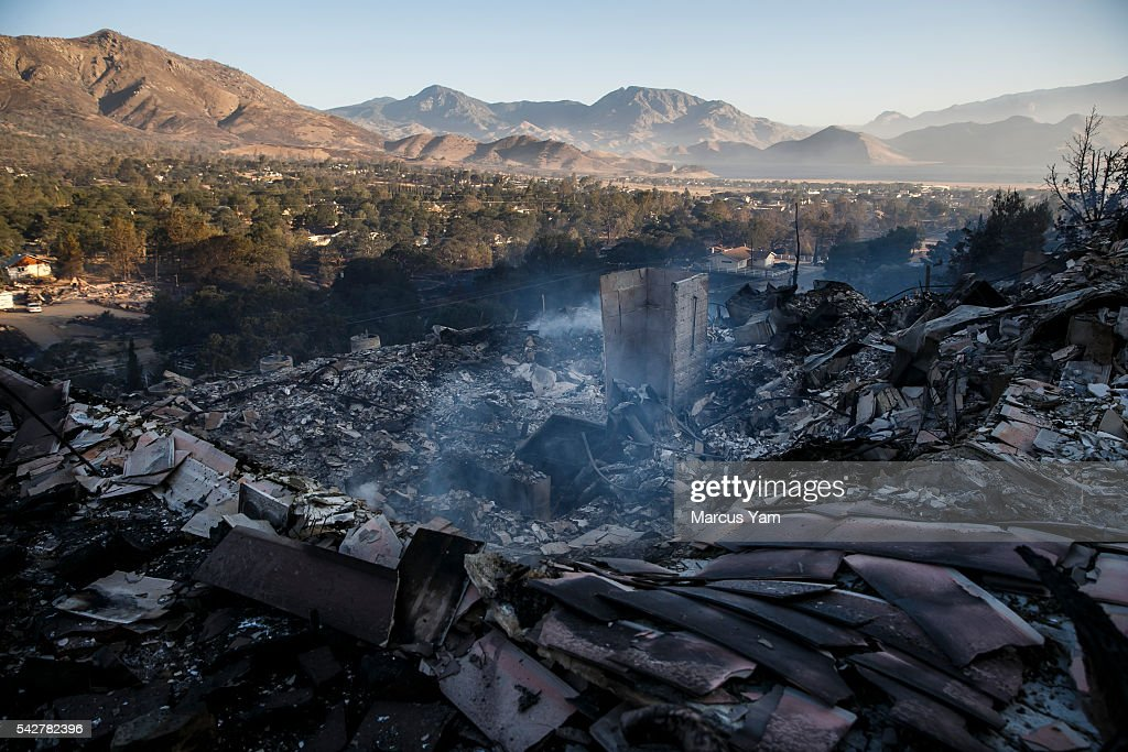 The aftermath of the Erskine Wildfire after it tore through the Squirrel Mountain Valley neighborhood in Lake Isabella, Calif., on June 24, 2016.