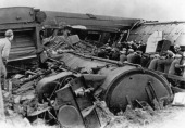 The aftermath of the Goswick rail crash near Goswick in Northumberland 27th October 1947 The Flying Scotsman from Edinburgh to London derailed...