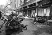 The aftermath of the IRA car bombing of Knightsbridge department store Harrods Six people died in the explosion in London England on December 17 1983