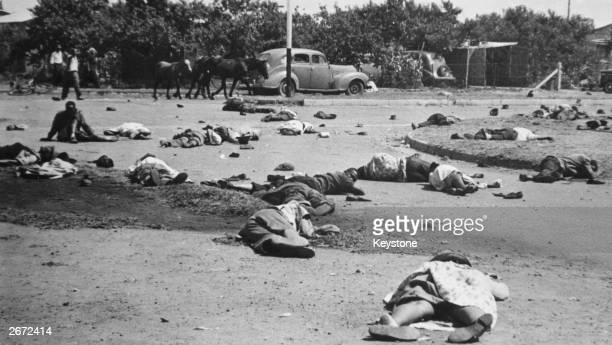 The aftermath of the massacre at Sharpeville thirty miles from Johannesburg in which more than fifty black South Africans lost their lives Police...