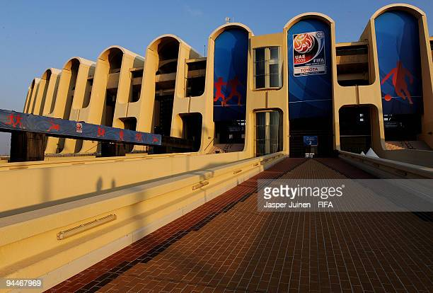 The afternoon sun lights the exterior of the Zayed Sports City stadium on December 15 2009 in Abu Dhabi United Arab Emirates The final of the FIFA...